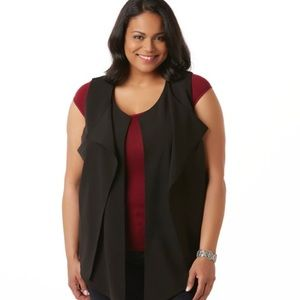 Simply Emma Vest Draped Top Dressy Open Front NWT